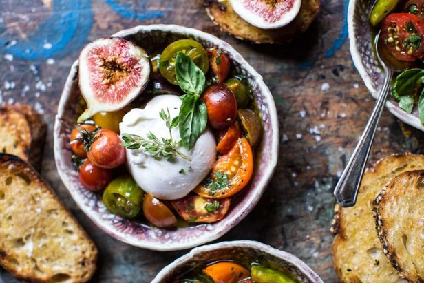 fourth of july pairings marinated cherry tomatoes with burratta