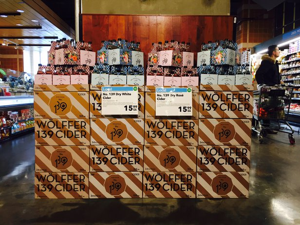 wolffer cider case stack at whole foods boston