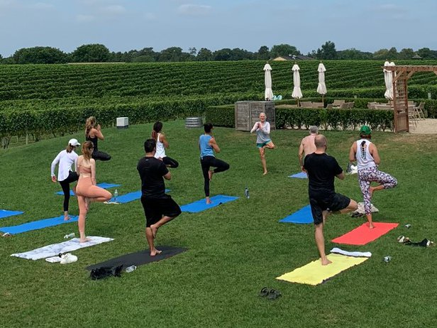 yoga in the vines at sunset