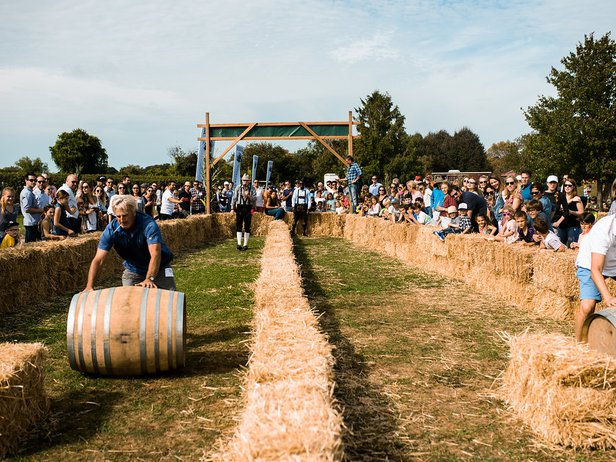 barrel rolling at harvest party